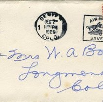 Image of Envelope addressed to Mrs W. A Boze