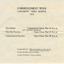 Image of 1914 Commencement program