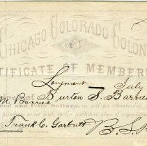 Image of Colony membership certificate - Barnes