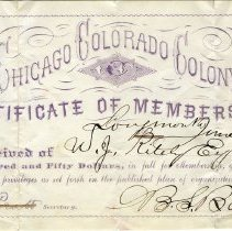 Image of Colony membership certificate for W. J. Kiteley