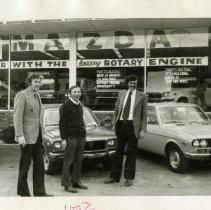 Image of Print, Photographic - New rotary engine car at Mount Kisco Mazda; left to right Lester Schaen, George Kahn, Jack Berger.
