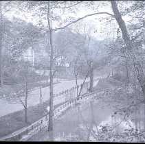 Image of Negative, Film - Bronx River Parkway and Bronx River - looking north from the Popham Road bridge