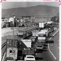 Image of Print, Photographic - Traffic on the New York State Thruway (I-87 / I-287) approaching the Tappan Zee Bridge