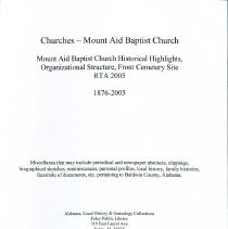 Image of Book/Mount Aid Baptist Church - 30435000084006