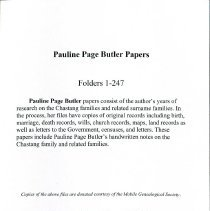 Image of Pauline Page Butler Papers