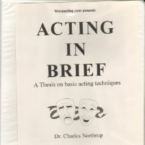 Image of Book:  Acting in Brief,  Dr. Charles Northrup (1954)