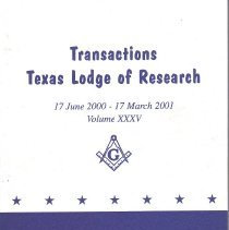 Image of Transactions Texas Lodge of Research 2001