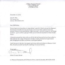 Image of Letter from Clifton Truman Daniels to Past Grand Master John W. Hess - 2013.1.100