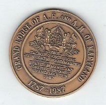 Image of Grand Lodge of Maryland Bicentennial Coin 1787-1987 - 2013.1.212
