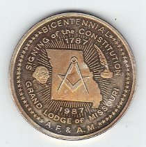 Image of Bicentennial coin signing of the Constitution Grand Lodge of Missouri - 2013.1.220