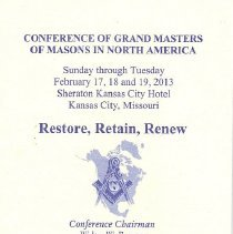 Image of Conference of Grand Masters Program, Feb 17-19 2013 Kansas City MO - 2013.2.233.4