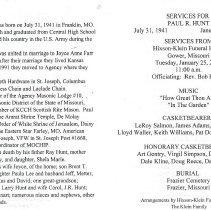 Image of RWB Paul Hunt Funeral Card - 2013.6.202