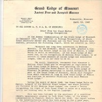Image of Papers of Grand Master Willis J. Bray - 2014.3.20
