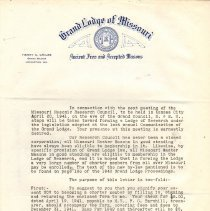 Image of Correspondence forming the Missouri Lodge of Research 1941 - 2014.11.27