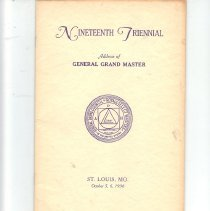 Image of General Grand Masters Address 1936