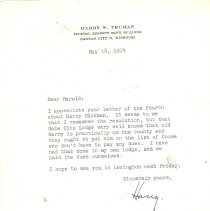 Image of Truman Letter May 18, 1954
