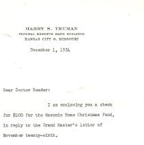 Image of Letter to Grand Secretary Reader from Harry S Truman regarding donation to the Masonic Home - 2014.8.28