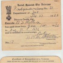 Image of United Spanish War Veterans membership cards - 2015.1.24