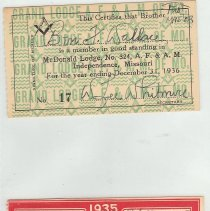Image of Dues cards for Lodge and Chapter belongs to Ben F. Wallace - 2015.1.25