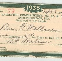 Image of Dues cards for Commandery belonging to Ben F. Wallace - 2015.1.26