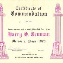 Image of Certificate of Commendation Harry S Truman Memorial Class AASR 1973 - 2015.1.4