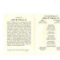 Image of RWB John W Gibson Funeral Card