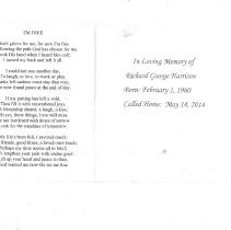 Image of Richard G Harrison Funeral Card