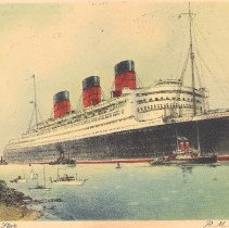 Image of Ray V Denslow postcard from the Queen Mary - 2015.3.247