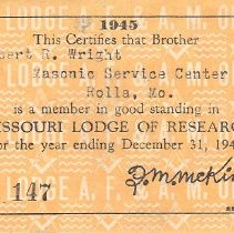 Image of 1945 Lodge of Research Dues Card - 2015.5.85