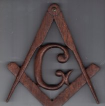 Image of Handcarved Masonic Square and Compass with Letter G - 2015.8.172