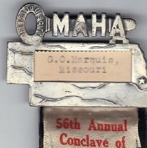 Image of 1928 Grand Commandery of Nebraska nametag ribbon - 2016.11.90