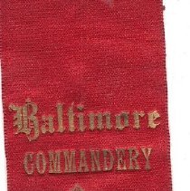 Image of Baltimore Commandery No 2 Grand Encampment Ribbon 1889 - 2016.11.94