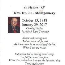 Image of Rev. Dr. JC Montgomery Prayer Card - 2017.2.5