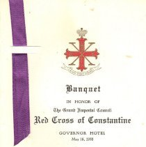 Image of Banquet Program in honor of the Grand Imperial Council Red Cross of Constantine 1953 - 2017.3.12