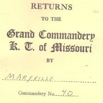 Image of Annual Returns-Maryville Commandery No 40 KT - 2017.5.163
