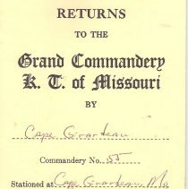 Image of Annual Returns:  Cape Girardeau Commandery No 55 KT