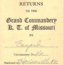 Image of Annual Returns--Bayard Commandery No 26 K.T. - 2017.5.223