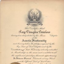 Image of Acacia Fraternity Patten issued to Ray V Denslow - 2017.5.71