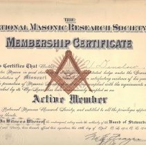 Image of Ray V Denslow membership Certificate--National Masonic Research Society - 2017.5.72