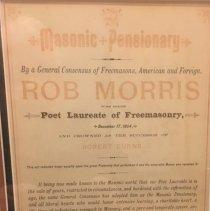 Image of Rob Morris Masonic Pensionary Certificate - 2017.7.367