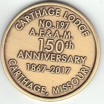 Image of 150th Anniversary Coin, Carthage Lodge No 197 - 2017.10.42