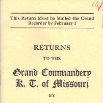 Image of Annual Returns--Kansas City Commandery No 10 KT - 2017.11.54