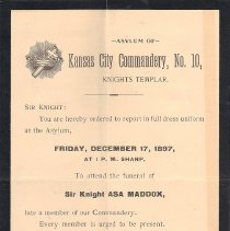 Image of Asa Maddox Funeral Notice 1897 - 2017.12.20