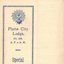 Image of Platte City Lodge No 504 Special Communication Program March 2, 1914 - 2017.12.35