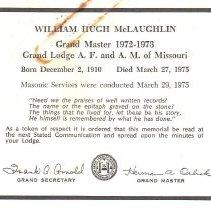 Image of William Hugh McLaughlin Funeral Notice - 2017.12.54