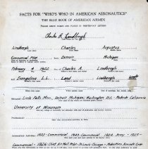 "Image of Signed Charles Lindbergh application to ""Who's Who in American Aeronautics"""