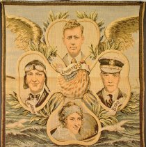 Image of Aviator tapestry from France: Lindbergh, Byrd, Chamberlin, Elder