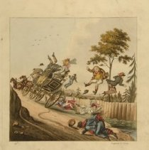 "Image of ""Spreading"", comic coach accident print circa 1825"