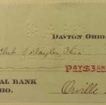 Image of $3 check to Dayton Rotary Club, signed by Orville Wright, 01/18/1919.