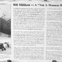 "Image of Bill Milliken, ""Not a moment wasted life"" display sign - Biographical Materials"